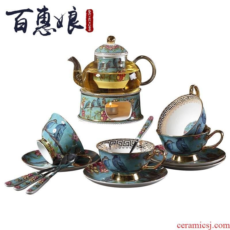 (niang rural wind European ceramic teapot set the based household heating base afternoon tea tea set
