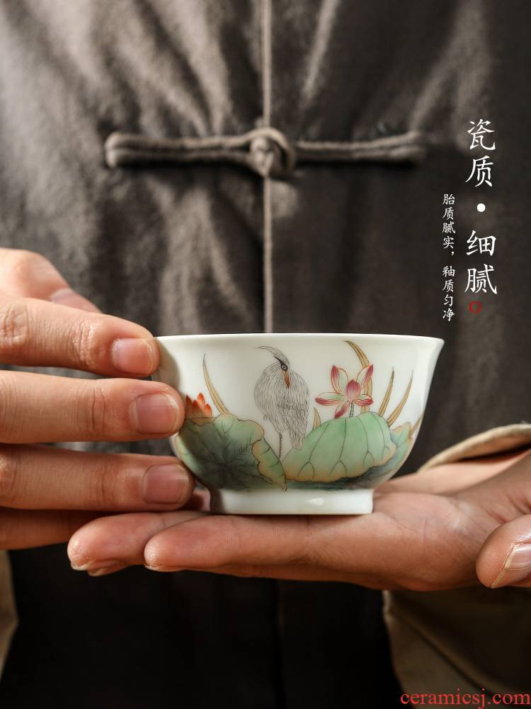Jingdezhen hand - made teacup masters cup a cup of pure checking ceramic sample tea cup single kung fu tea set Chinese style restoring ancient ways