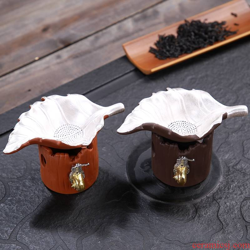 Qiao mu purple sand filter manually coppering. As silver screen pack q: creative emblema kung fu tea tea residue