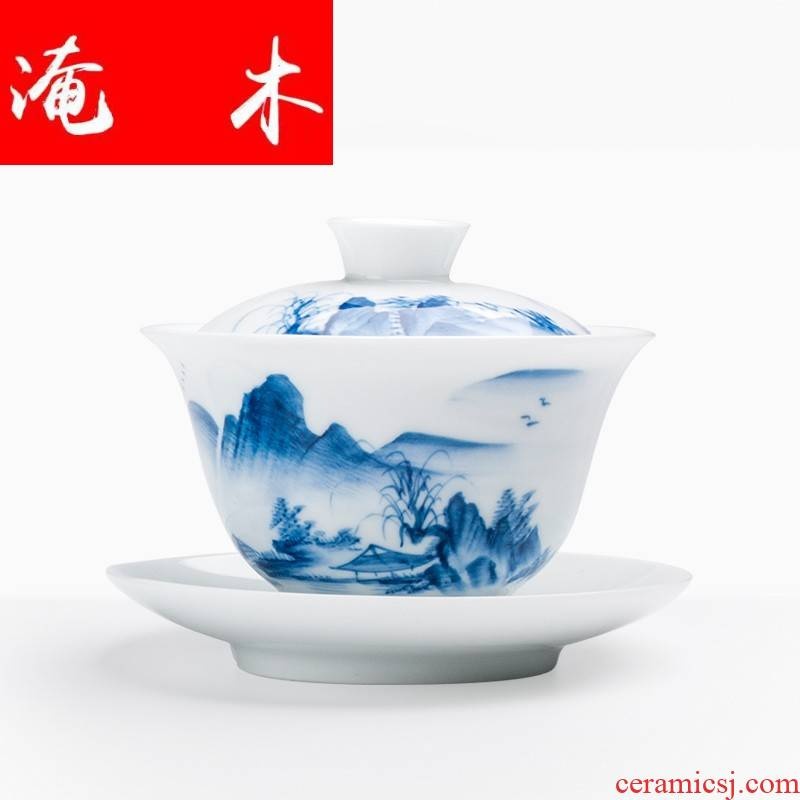 Submerged wood white porcelain hand - made scenery tureen large operators can use ceramic cups kung fu tea set between restoring ancient ways