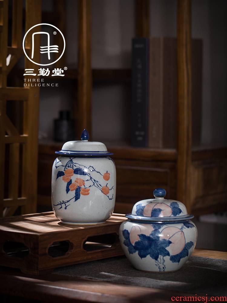 The three frequently ceramic tea pot seal pot clay glaze hand - made jingdezhen blue and white porcelain tea set tea POTS
