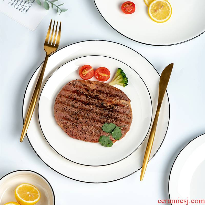 Steak red and white ceramic plate plate net household keeping cold dish plate round western food knife and fork dish dessert plate