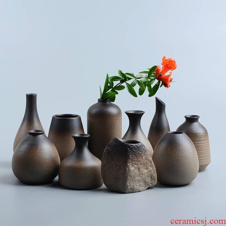 Plain pottery flower tea flower implement mini coarse pottery vases furnishing articles zen Japanese ikebana hydroponic flower vase