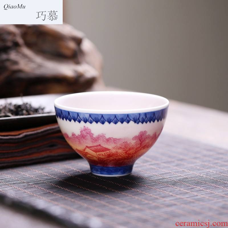 Qiao mu JYD kung fu tea cup single cup tea cup ceramic hand - made blue agate red cup sample tea cup personal seclusion
