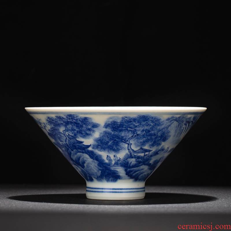 Kung fu tea cups of jingdezhen ceramic masters cup single CPU hand - made porcelain tea set maintain landscape perfectly playable cup small tea cups