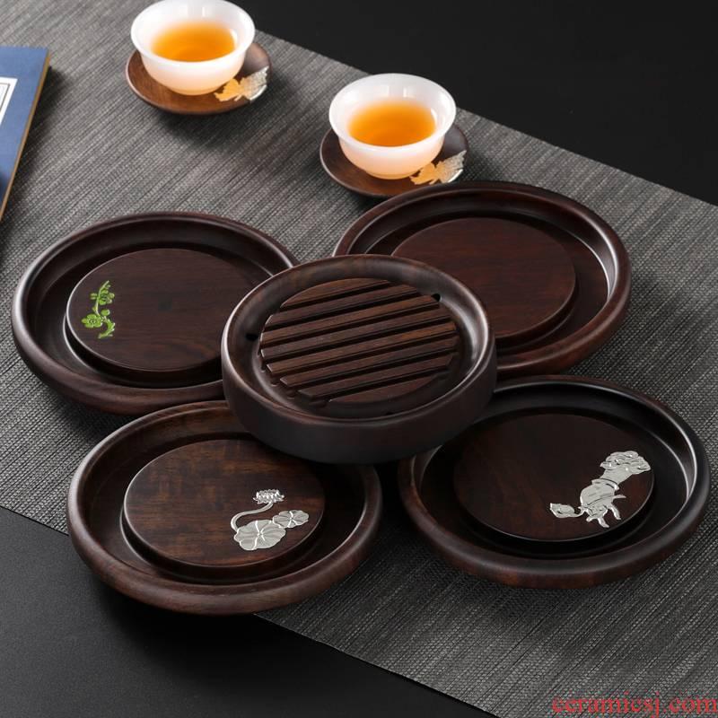 Ebony pot dry socket set luffa mat base the teapot Japanese tea it saucer real wood a pot of mat