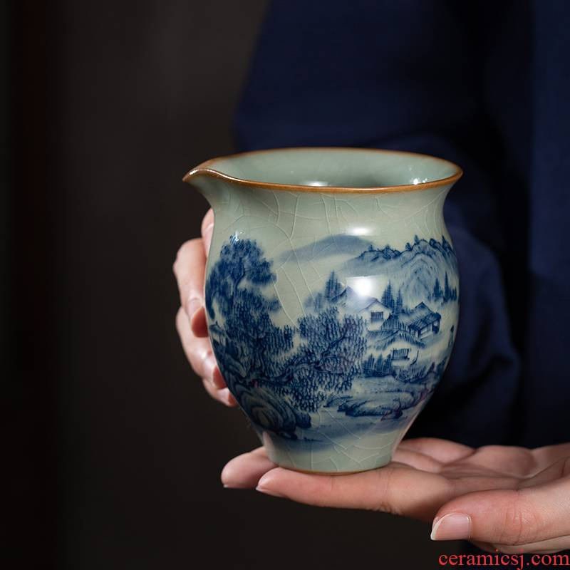 Blue and white maintain landscape old clay ceramic fair keller hand - made the start points of tea ware cup manual of jingdezhen tea service
