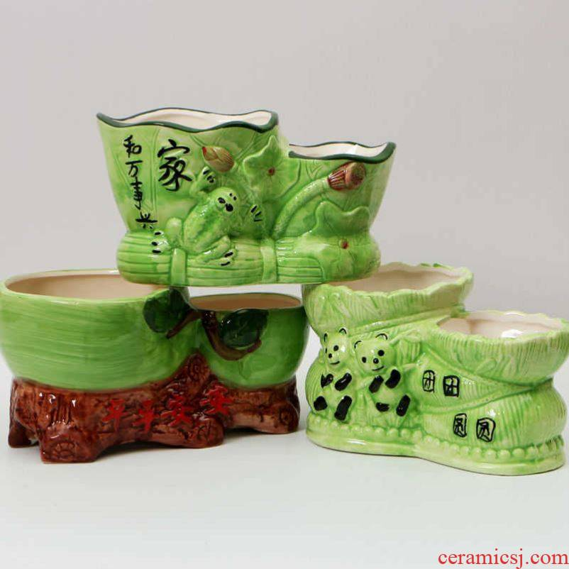 Classic ceramic flower coarse pottery contracted green plant rich tree flower pot double expressions using basin flowerpot pack mail conjoined flowerpot more than meat