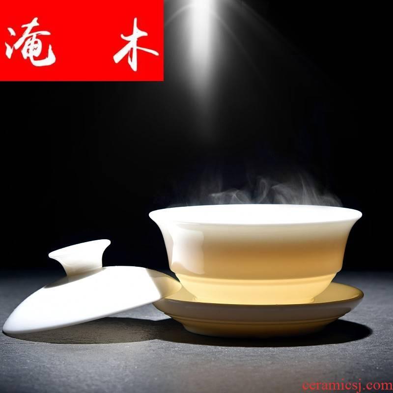 Submerged wood white porcelain GaiWanCha lid cup bowl back economic jade light ceramic checking tea kungfu tea set three bowls