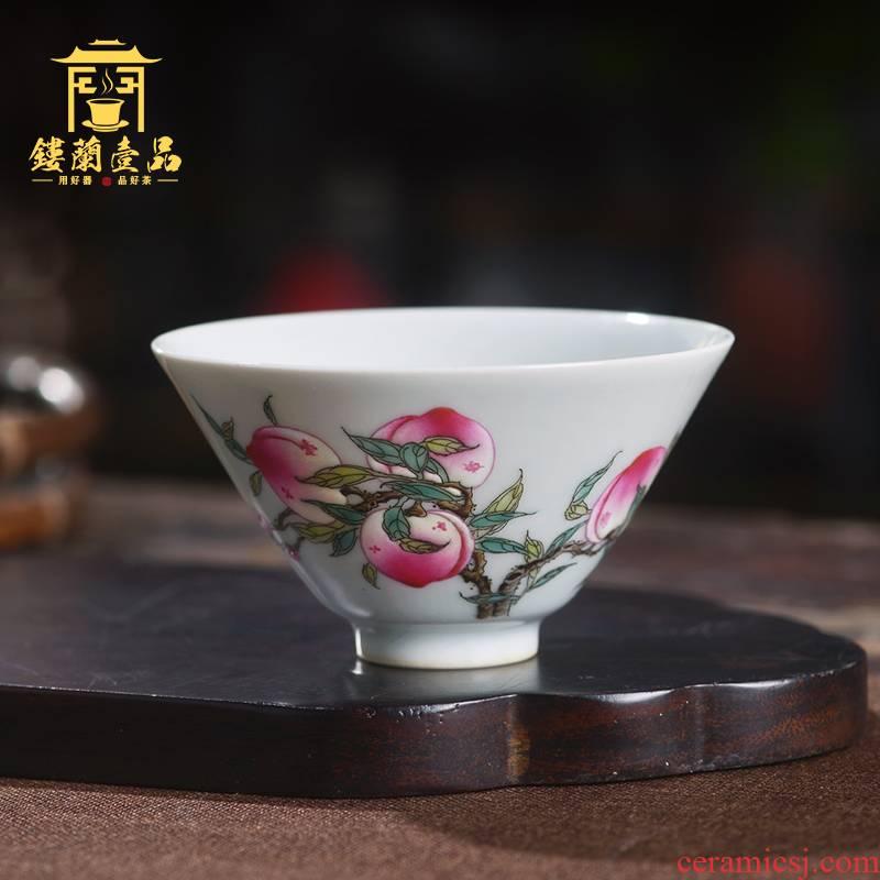 All hand - made pastel wufu peach masters cup of jingdezhen ceramics kung fu tea single cup tea cup sample tea cup
