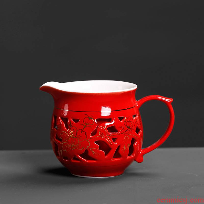 Chinese tea set a single marriage red hollow out exquisite double with the ceramic fair fair keller cup home tea