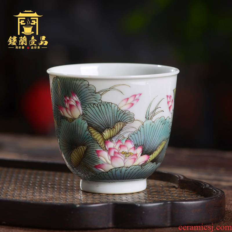 Jingdezhen ceramic all hand - made pastel lotus masters cup large bowl kung fu tea cup, tea cups