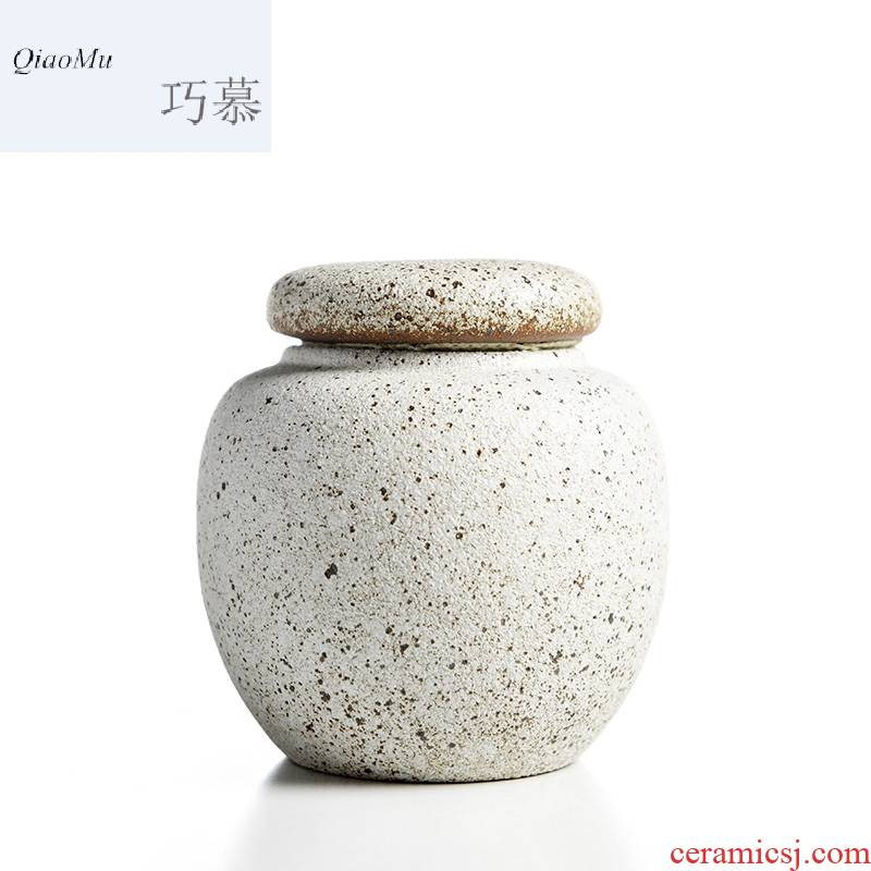 Qiao mu MG mini small seal pot Japanese coarse pottery up ceramic tea caddy fixings warehouse storage of black pottery