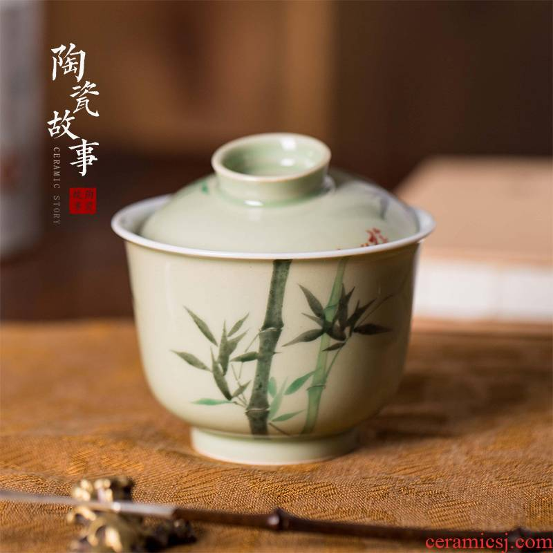 High - end checking hand - made ceramic story town tureen only three tureen single pea green glazed bamboo tureen