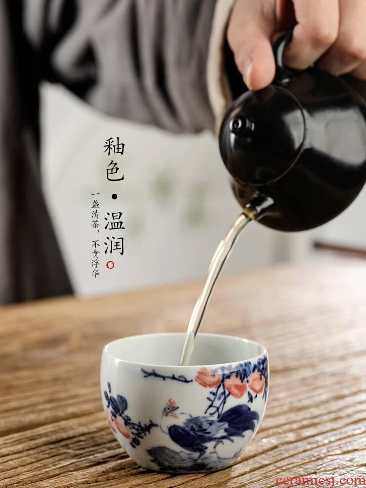 Jingdezhen hand - made antique porcelain teacup masters cup sample tea cup cup pure manual zodiac chicken kunfu tea tea set