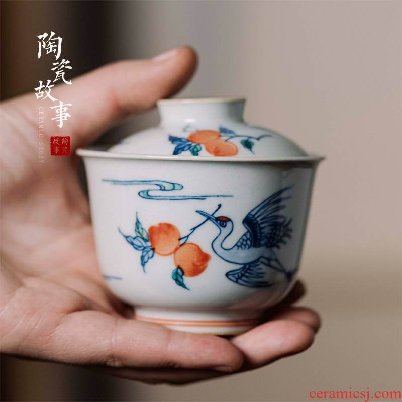 High - end checking hand - made ceramic story town tureen three blue and white color bucket crane tureen only single life of tureen