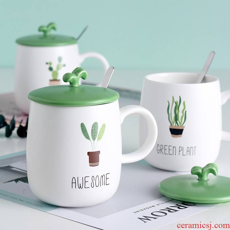 Large capacity in the summer of lovely ceramic cup tea trend of men and women home mark cup of milk coffee cup with a spoon