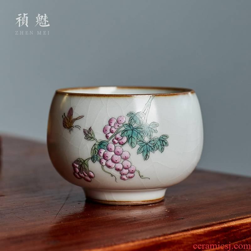 Shot incarnate your up hand - made grape jingdezhen ceramic cups kung fu tea set open piece of sample tea cup masters cup single CPU