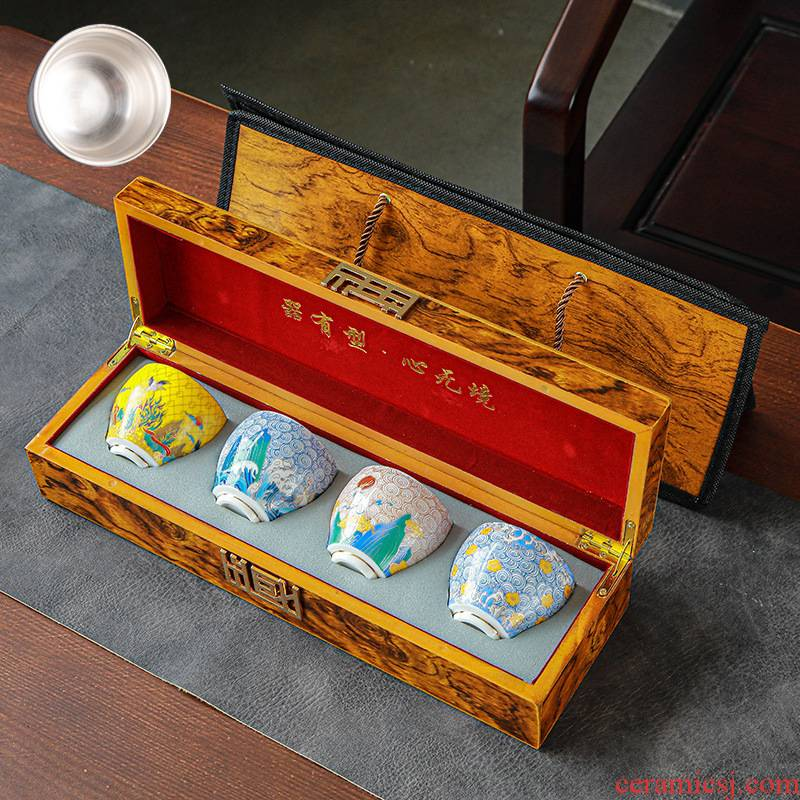 999 sterling silver cup kung fu tea bowls colored enamel porcelain sample tea cup manual tasted silver gilding master cup single cup gift box