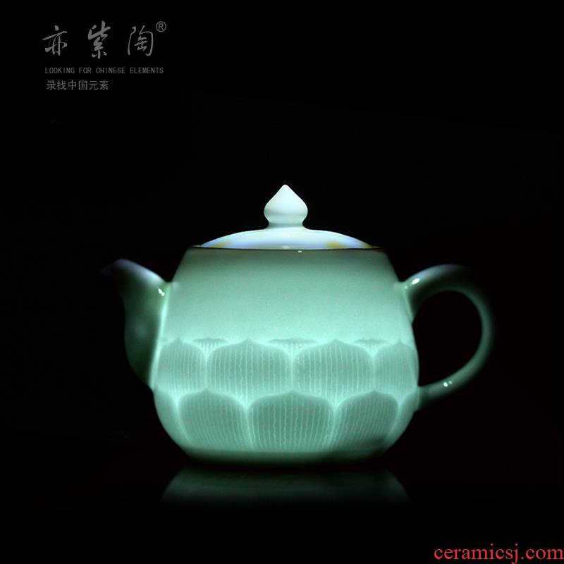 Purple pottery of kung fu tea set with longquan celadon powder blue glaze ceramic teapot tea zero shadow celadon pot