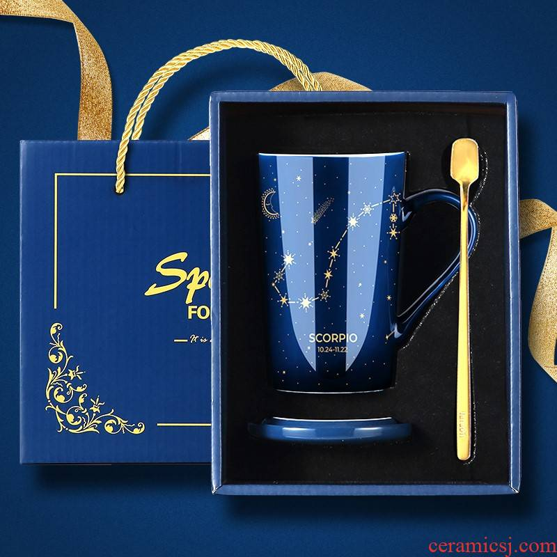 Ceramic keller constellation with cover run milk coffee cups female summer gift box lovers ultimately responds the cup the boy home