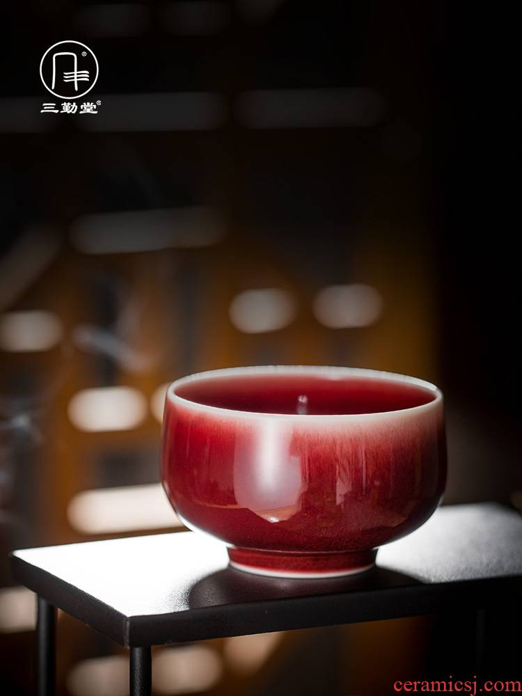 Three frequently hall tea ruby red single glaze teacup masters cup and cup of jingdezhen ceramic kung fu tea set lang up red