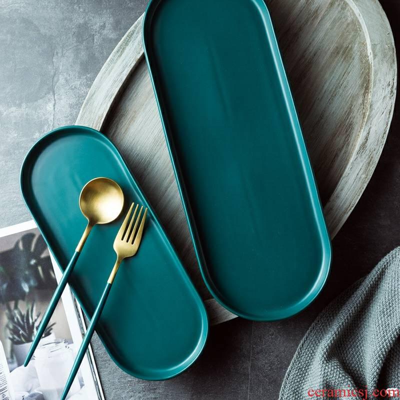 Ceramic tray was long irregular oval plate plate household utensils flat dish dish dish dish