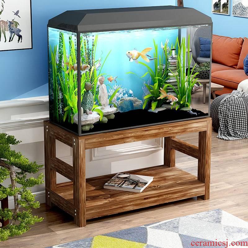 Multilayer group cylinder tank bottom ark base ground ark cabinet solid wood table order aquatic ecological grass cylinder aquarium