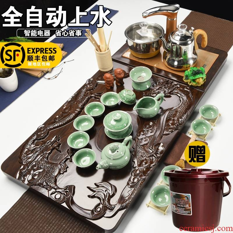 Qiao mu tea suit household contracted violet arenaceous kung fu tea taking of a complete set of solid wood tea tray, tea teapot teacup full since