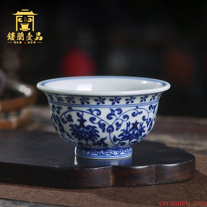 Jingdezhen ceramic all hand - made imitation Ming yongle blue tie up branch pressure hand masters cup kung fu tea set single cup tea cup