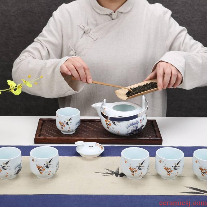 Qiao mu jingdezhen porcelain ceramic high - capacity scented tea cool kung fu tea set hotel club large kettle