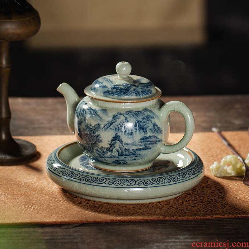 Owls maintain manual hand - made ceramic up porcelain teapots on glaze old clay retro landscape tea set