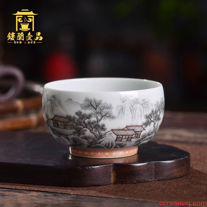 Jingdezhen ceramic all hand - made color ink landscape master cup single ceramic tea set personal kung fu tea cup tea cup