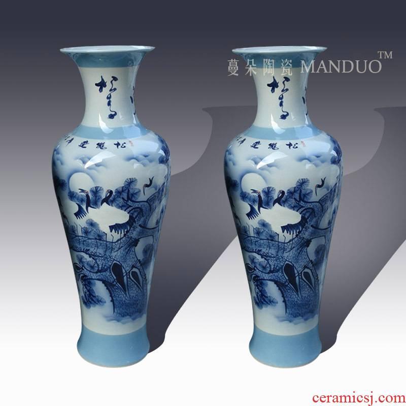 Jingdezhen hand - made crane pine needles of large vase 1 m or so elegant furnishings sitting room of large vase