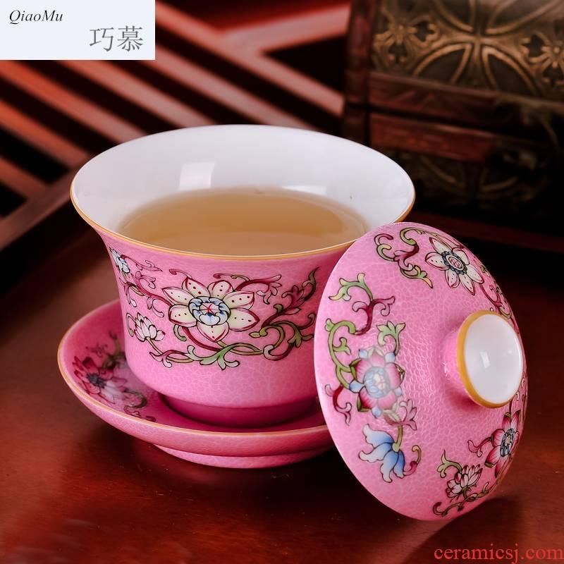 Qiao mu JYD grilled pastel flowers tea sets 6 head jingdezhen ceramic cups tureen hand - made of a mixture