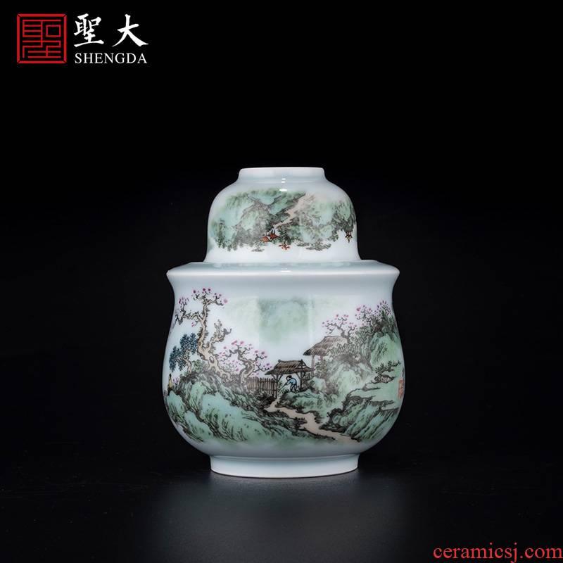 "Holy big ceramic new see colour ""yat sen villa spring scenery"" wine wine pot temperature hot hip household jingdezhen wine cup"