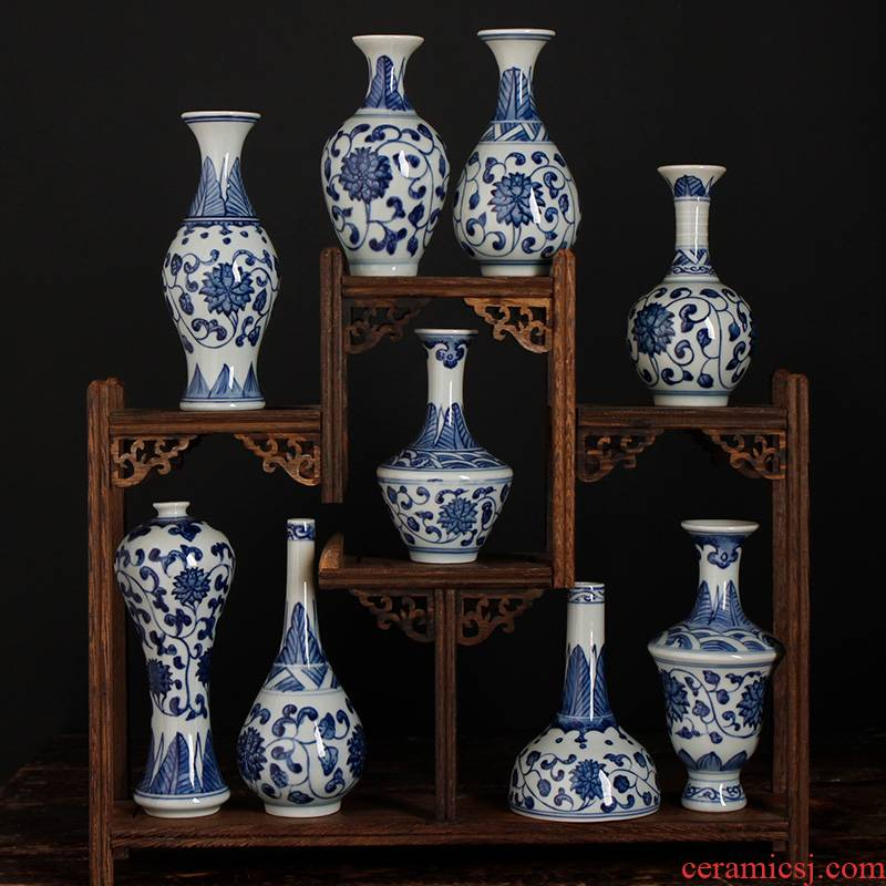Blue and white porcelain of jingdezhen ceramic lucky bamboo vase to restore ancient ways furnishing articles the features creative Chinese style household small flower arrangement