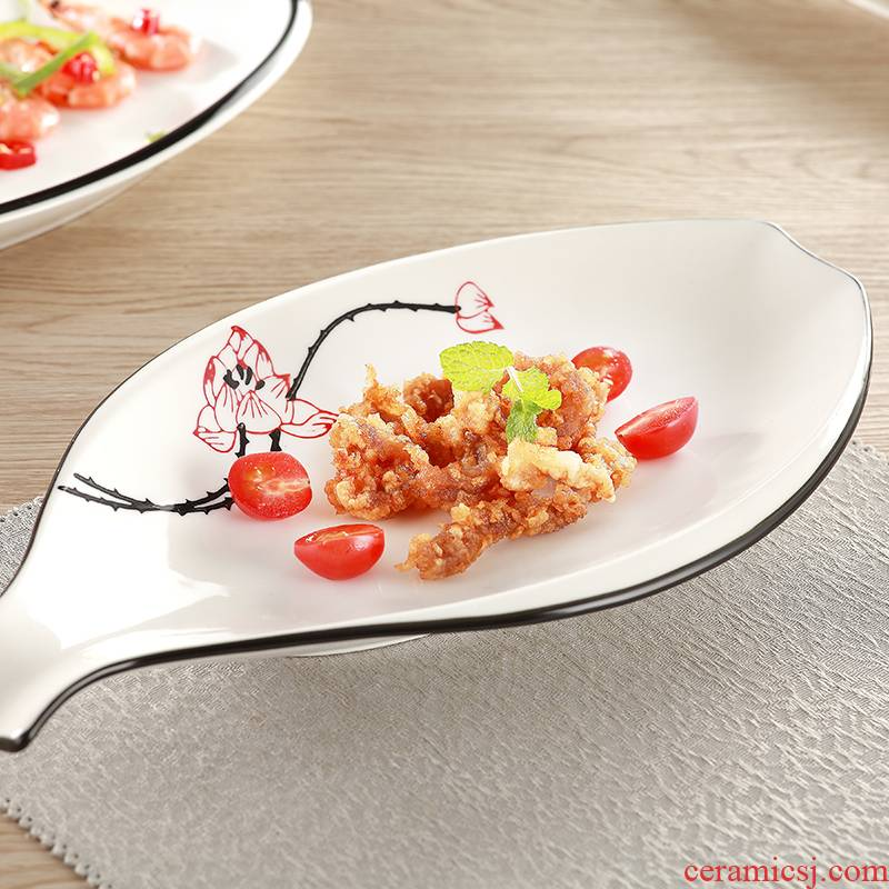 Four ceramic dish suit creative household food dish soup plate disc western - style snack plate INS cartoon tableware for breakfast