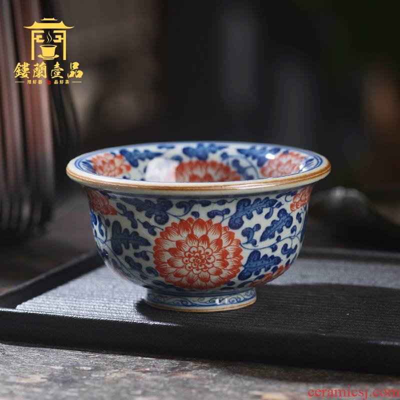 Jingdezhen ceramic porcelain slice wrapped inside and outside branch lotus open pressure hand cup large kung fu tea cup single CPU master CPU