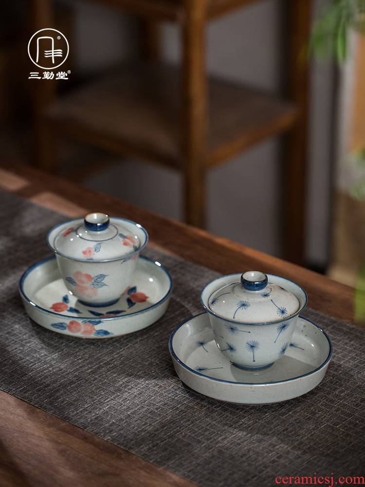 The three frequently ceramic blue and white porcelain clay glaze suit master cup of water to wash to jingdezhen tea cups tea POTS