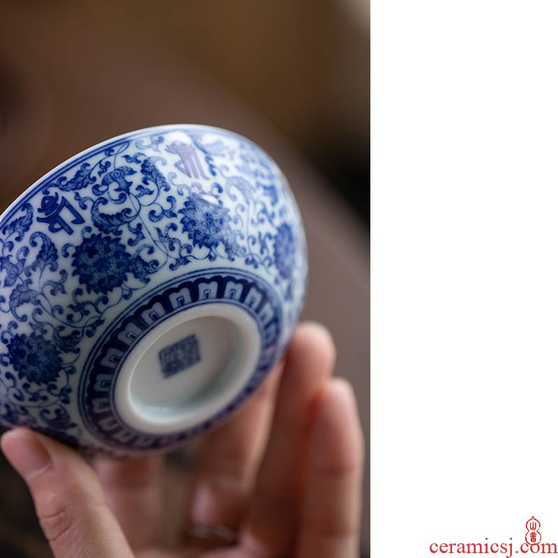 Art home benevolence blue new treasure phase pu - erh tea cup of jingdezhen hand - made porcelain master cup personal special tea cups
