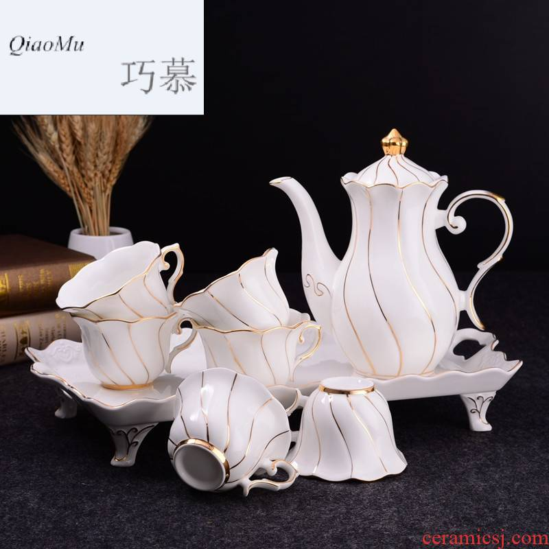 Qiao mu high - grade ipads China water craft paint afternoon tea tea set of suit the set of Europe type cold water kettle biennial reel