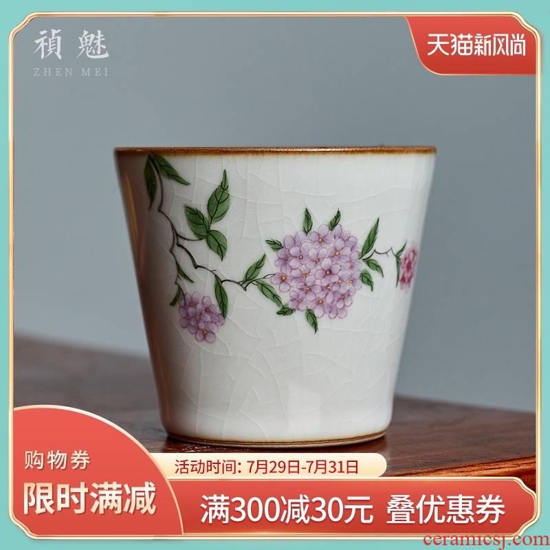 Shot incarnate your up hand - made hydrangea jingdezhen ceramic cups kung fu tea set personal sample tea cup master cup single CPU
