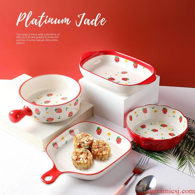 Household 2021 new lovely strawberry plate creative fruit bowl for jobs ceramic Nordic baking