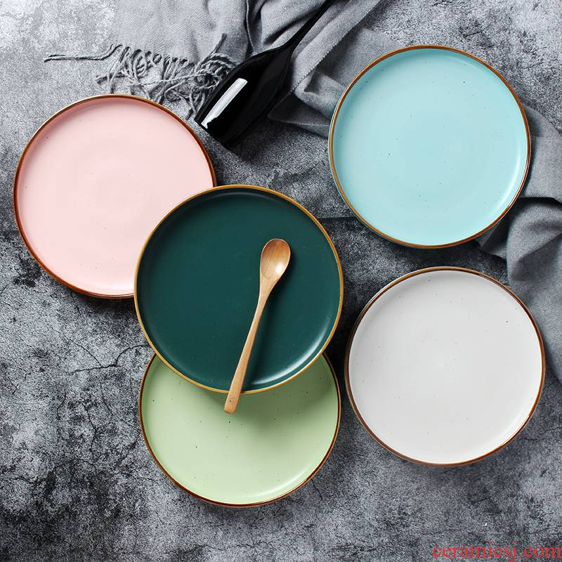 Nordic ceramic disc beefsteak disc breakfast plate household color creative plate web celebrity salad plate of dish