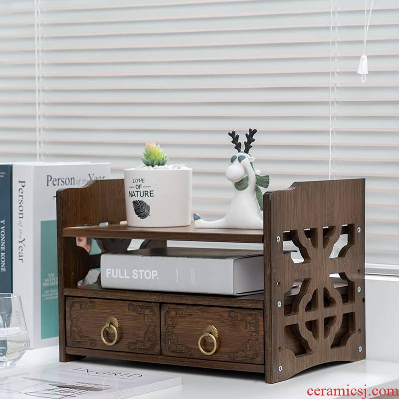 Bamboo office desktop file drawer sundry receive with this seat belt printer small flower shelf