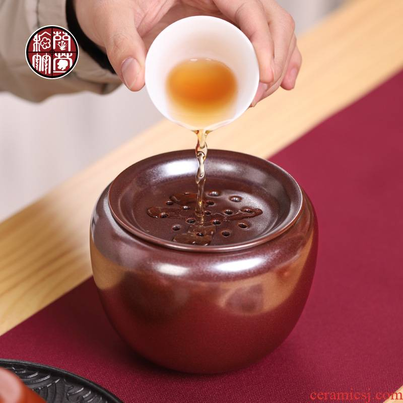 Archaize up in hot tea to wash to the ceramic cylinder with cover household zen water jar writing brush washer from wastewater tank kung fu tea accessories