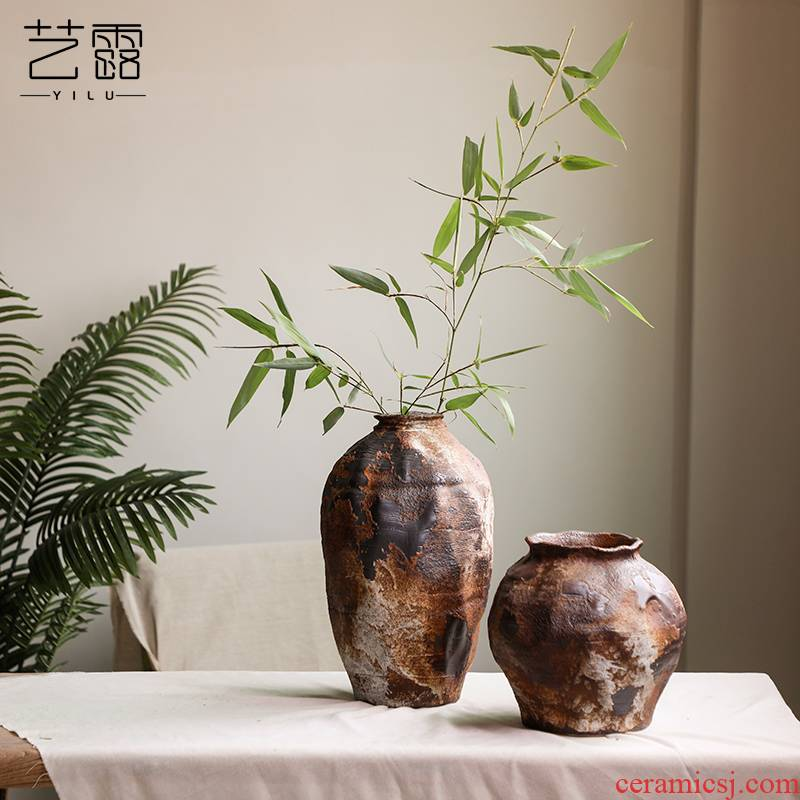 Coarse pottery retro vantage wabi-sabi penury, wind wind pottery flower art flower arranging flowers exchanger with the ceramics decoration vase furnishing articles