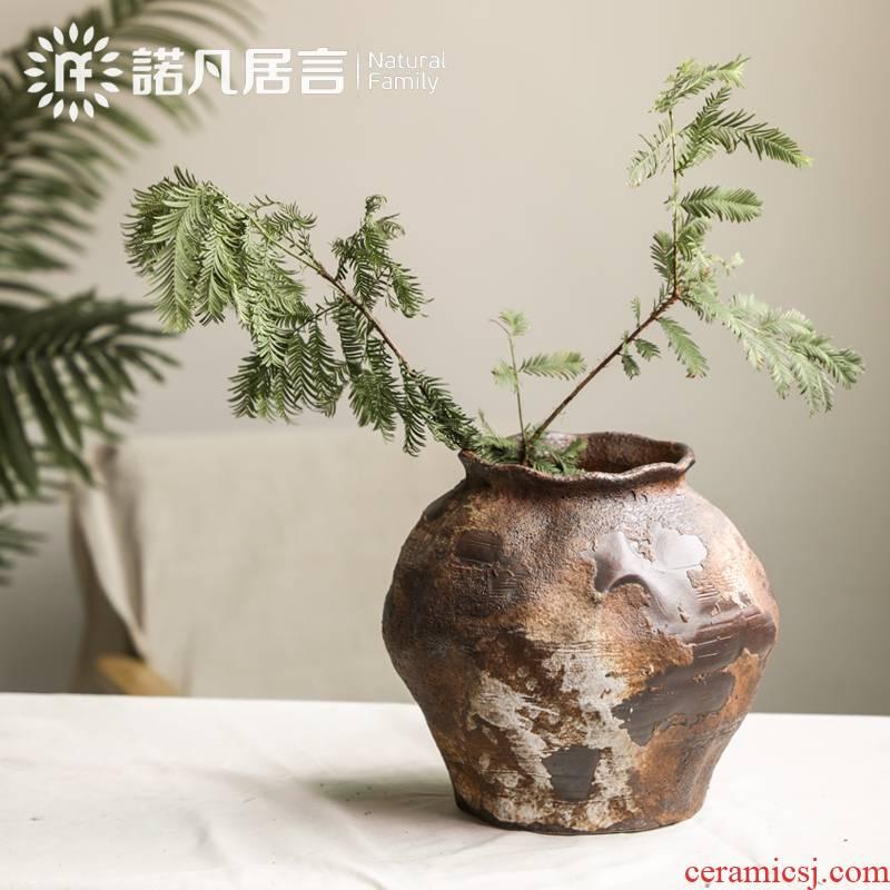 Mesa of coarse some ceramic porcelain vase flower arranging nostalgic wabi-sabi manual home stay hotel furnishing articles zen wind restoring ancient ways poor wind