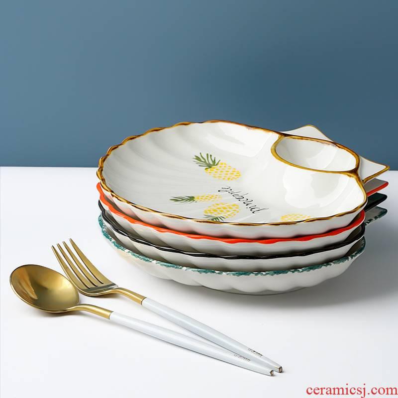 . Take flavour dish dish porcelain ceramic pack dumpling to eat dumplings with vinegar dish of crayfish home circle